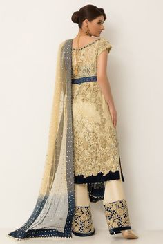 a8aa30ced0 Embroidered metallic blue stitched pret wear by Baroque luxury collection  2018