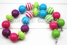 Chunky Necklace  Bright rainbow acrylic beads Chuncky Necklace Girl Necklace for Kids CB118-in Pendant Necklaces from Jewelry ....
