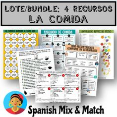 ACTIVIDADES Y JUEGOS CON VOCABULARIO DE COMIDA... by SPANISH MIX AND MATCH   Teachers Pay Teachers Class Activities, Learning Resources, Learning Spanish, Teacher Resources, Spanish Projects, Middle School Spanish, Spanish Teacher, Life Skills, Fun Stuff