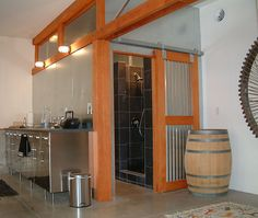 Sliding barn door with corrugated sheet metal