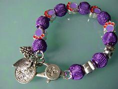 CoSi's Armband UNIKAT Netzperlen lila ausgefallen edel Charms