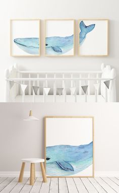 "☆ A Beautiful Nursery Decor Set of 3. One big light blue whale spreaded in 3 different frames.☆  Make the nursery joyful and colorful with this set of prints!   Instant download print ready digital file: A4 8"" x 11""  Letter 8.5"" x 11"""