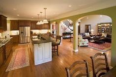 I love kitchens that open into family rooms