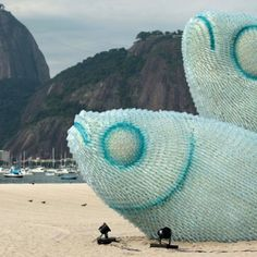 ... fish sculpture from discarded plastic bottles ... Rio de Janeiro