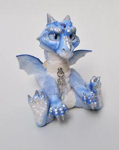 Magical Blue Dragon Doll Unique Beautiful by Magweno on Etsy Fantasy Witch, Fantasy Wizard, Fantasy Dragon, Fantasy Art, Forest Elf, Polymer Clay Dragon, Legends And Myths, Cute Dragons, Blue Dragon