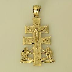 14K Yellow Gold Cara Vaca Crucifix Pendant from Roy Rose Jewelry