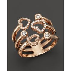 Diamond Solitaire and Heart Band in 14K Rose Gold, .30 ct. t.w.