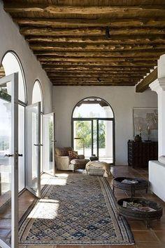 Mediterrean hallway - terracotta tiles, persian rug, big window doors, and tree…