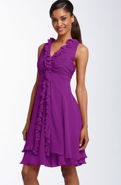 Chiffon Strap Strap Violet Knee Length Bridesmaid Dress With Drap BD0017