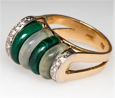 ROCK CRYSTAL & MALACHITE ARCH RING DIAMOND ACCENTS 14K GOLD mm