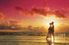 "Couple At Sunset On The Beach  <a href=""http://fineartamerica.com/art/paintings/sunset/all"" style=""font: 10pt arial; text-decoration: underline;"">sunset paintings for sale</a>"