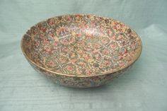 Paper mache Florentine shallow decorative bowl / gold by HandPycd