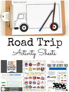 Road Trip Activity Sheets