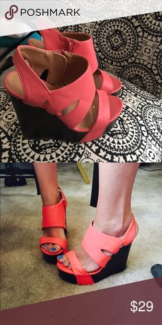 Crazy for Coral Wedges Beautiful coral wedges. Originally purchased from the Red Dress Boutique. A few scuffs but plenty of life left. Size 6.5. Shoes Wedges