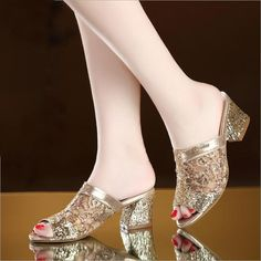 Buy Women Fashion Open Toe Slippers Bling Bling Glitter Mesh PU Leather Summer Shoes Woman Square Heel Pumps Sandals Zapatos Mujer Sapatos Femininos at Wish - Shopping Made Fun Lace Heels, Silver Heels, Pumps Heels, Womens Summer Shoes, Womens High Heels, Sandal Price, Open Toe Sandals, Sandals 2018, Summer Sandals