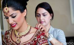 red indian wedding makeup and jewerly