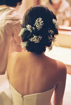 Quite beautiful updo with baby's breath