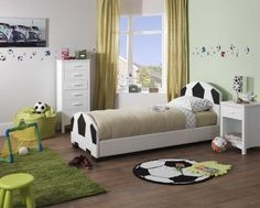 Serene Pallone Faux Leather Football Bed - 3ft Single Kids can be the envy of their friends with this dream of a faux leather bed