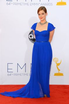 Emmy Awards 2012: Suburgatory's Jane Levy made a bold statement in an electric-blue Pamella Roland gown.  #Emmys