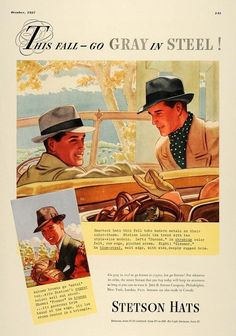 Stetson Hat's advert, from October, 1937. Quality men's hat's from $7.50 - $40.00