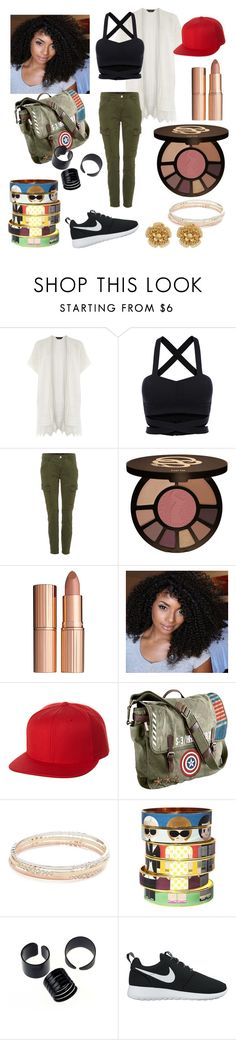 """""""NY Fashionista"""" by minaaa-coe ❤ liked on Polyvore featuring Dorothy Perkins, J Brand, tarte, Charlotte Tilbury, Flexfit, Marvel, Kate Spade, Bijoux de Famille, NIKE and Miriam Haskell"""