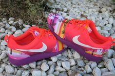 Custom Aloha Sunset Roshe Run Orange & Purple Neon by LeedasWorld