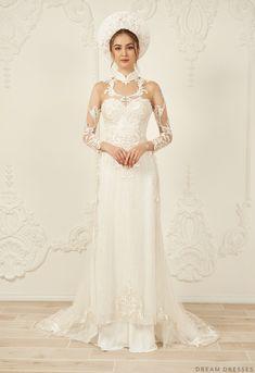 Shop the wide range of White Bridal Ao Dai White Bridal, Bridal Lace, Ao Dai Wedding, Bridal Dresses, Wedding Gowns, Wedding Dresses Pinterest, Chiffon Pants, Asian Wedding Dress, Dream Dress