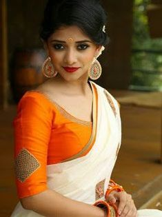 35 Gorgeous Kerala Saree Blouse Designs to try this year    Styling Tips For Kasavu Saree   Bling Sparkle