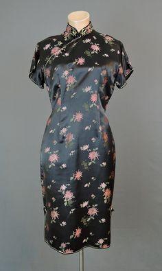 1960s Black Oriental Floral Satin Cheongsam Dress, fits 37 inch bust - dandelionvintage