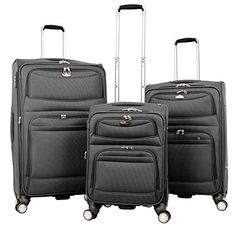 Luggage Sets Collections | Gabbiano 3 Piece Set Softside Upright Spinner Luggage 20 26  30  Blue or Charcoal Charcoal -- See this great product. Note:It is Affiliate Link to Amazon.