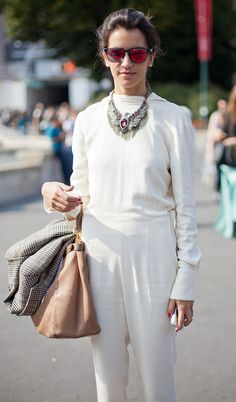 All white chic + statement necklace