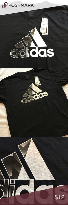 """Shows off the large adidas Badge of Sport. Black shirt with white badge accented block letters. Gray writing says """" 3 Stripe Brand"""". Adidas Sport, Adidas Men, Block Lettering, Tee Shirts, Tees, Black Adidas, Cotton Tee, Badge, Letters"""