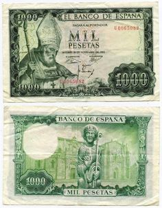 Description: A beautiful very fine or better Banknote from Spain. This is the 19 November 1966, 1000 Pesetas. The banknote has a green image on multicolor under-print. It depicts the image of San Isid