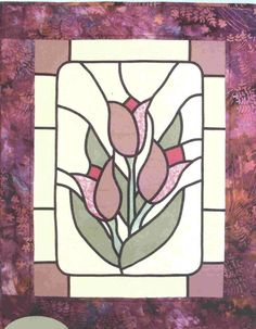Fun and easy quilt pattern. The glass in a stained glass window is usually rippled, streaked or bubbled. Also consider solids. Finished Size: x Skill Level: Advanced Beginner . Stained Glass Quilt, Stained Glass Flowers, Stained Glass Lamps, Stained Glass Projects, Stained Glass Windows, Glass Painting Patterns, Stained Glass Patterns, Glass Art Pictures, Glass Wall Art