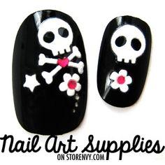 Black white girl skull nails