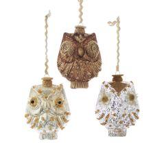"""5""""GLASS #OWL W/ #BURLAP Item # C9931"""