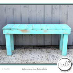 Gartenbänke - Shabby Vintage Bank Sitzbank türkis Holzbank - ein Designerstück von Peetie-Holzdesign bei DaWanda