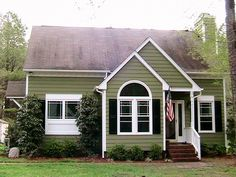 Awesome Picture Of Home Exterior Design With House Window Shutter Colors: Fancy . Green Exterior Paints, White Exterior Houses, Exterior Paint Colors For House, Exterior Siding, Paint Colors For Home, Exterior Design, Green Siding, Exterior Colors, Wood Siding
