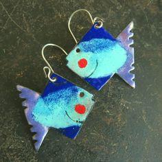 Rustic quirky aqua dark blue mauve and red by VintajiaAdornments Fish Shapes, Aqua, Cobalt Blue, Enamel Jewelry, Handmade Sterling Silver, Mauve, Dark Blue, Dangles, Handmade Jewelry