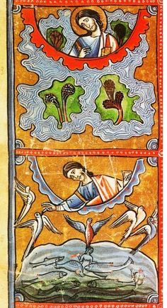 Days of Creation Medieval Manuscript, Medieval Art, Illuminated Manuscript, Days Of Creation, Mushroom Art, Bible Covers, Book Of Hours, Prayer Book, Adam And Eve