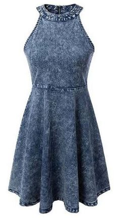 Snowflakes Round Neck Sleeveless Denim Dress #Sleeveless #Denim #Dress #Fashion