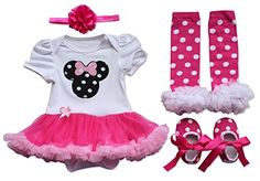 YiZYiF Newborn Toddler Baby Girls Party Dress 4 Pieces Outfits with Headband Set (0-3 Months, White & Hot Pink)