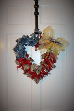 Civilian to Soldier. Honoring the deployed service member. Rag Wreath.