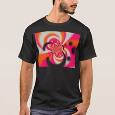 Funky pink and orange retro print T-Shirt - retro clothing outfits vintage style custom