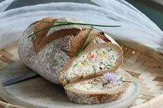 Ricotta and Chive Filled Rye Loaf | ElRecipes