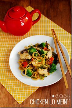 Stir fried vegetables and noodles are coated with a yummy sauce in Easy Chicken Lo Mein. Healthier and tastier than take out!