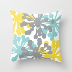 Modern Flowers Throw Pillow Cover.   Would look beautiful in a nursery, sofa, chair or bed.  Throw Pillow Cover made from polyester poplin fabric. *Insert not included.  Available in 16x16, 18x18 and 20x20 inches.  Printed on both sizes and finished with a hidden zipper. *Faux down insert available for an additional cost. You can find it here: www.etsy.com/listing/228151617   ♥ For more Aldari Home throw pillows: AldariHome.etsy.com