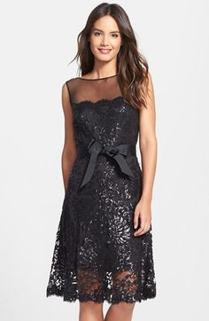 Tadashi Shoji Illusion Yoke Embellished Lace A-Line Dress available at #Nordstrom