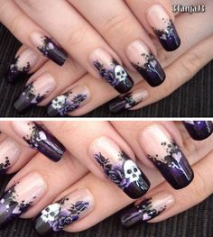 DIY Halloween Gothic Nail Art Video Tutorial from YouTube User...