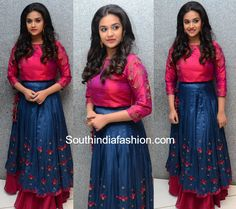 Keerthy Suresh in a long skirt and crop top